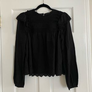 Zara Blouse With Pom Poms and Embroidery